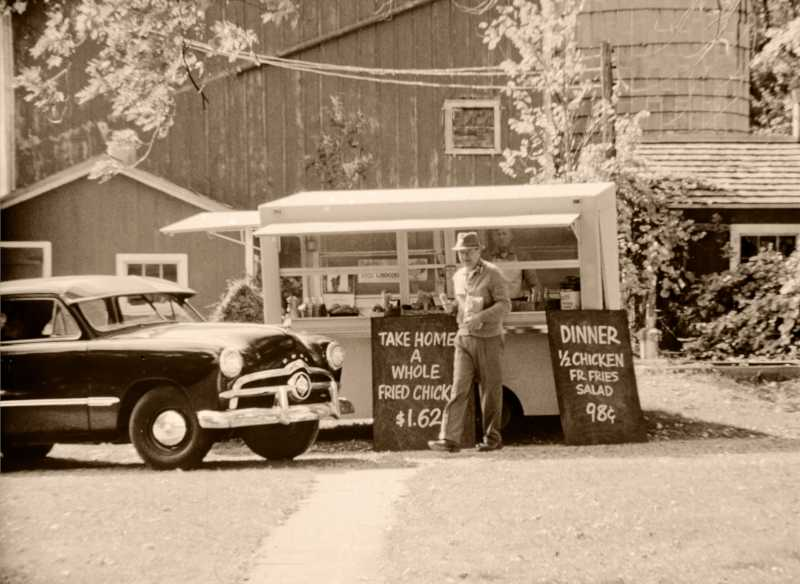 Mr. Brown in his original trailer in Orland Park